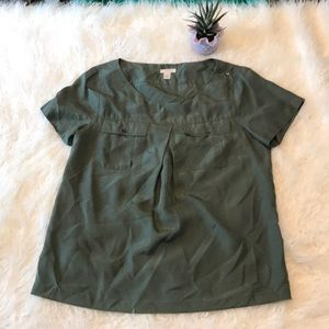 J CREW GREEN SILK BLOUSE